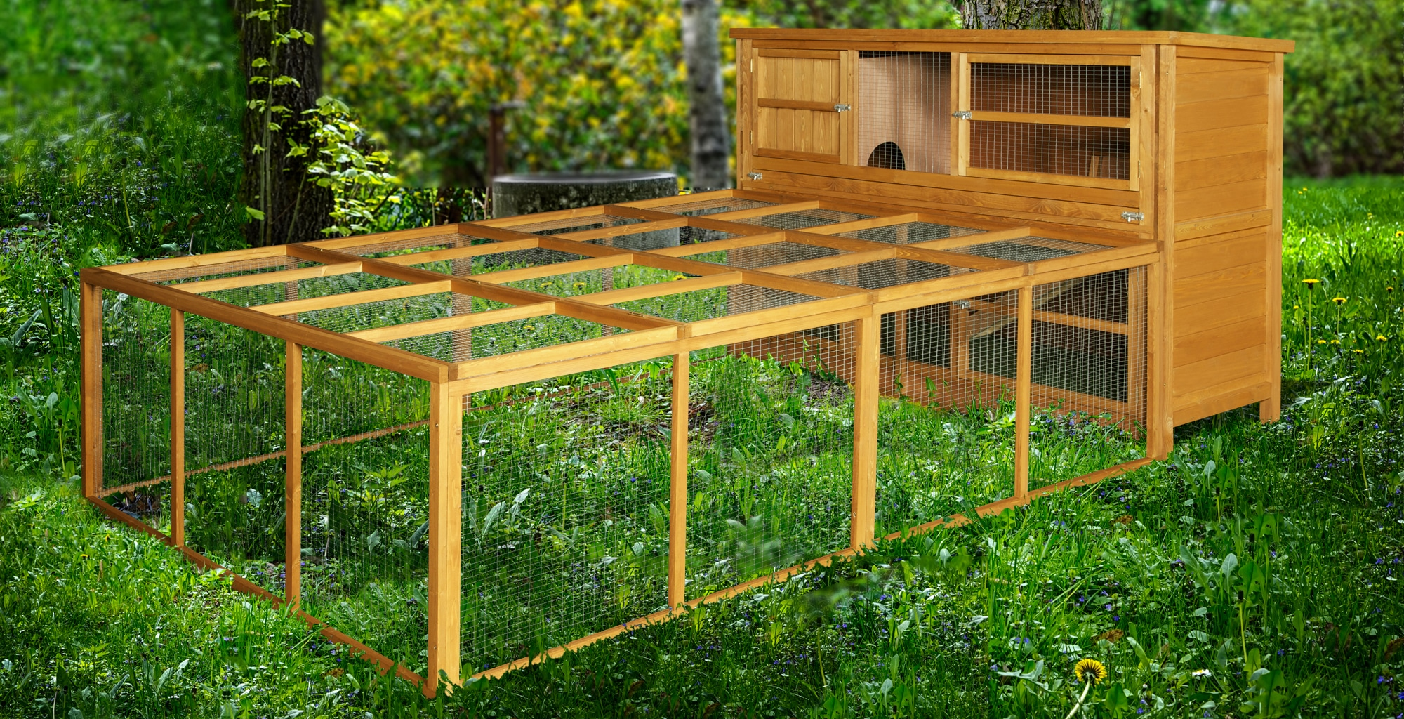 Home Amp Roost 6ft Chartwell Double Rabbit Hutch Amp Xl